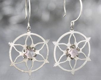Snowflake Earrings with Rose Quartz