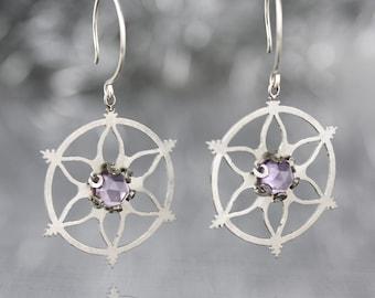 Snowflake Earrings with Amethyst