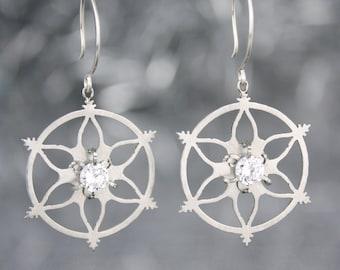 Snowflake Earrings with Cubic Zirconia