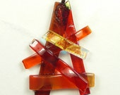 SALE Red and Orange Pendant With Fused Dichroic Glass