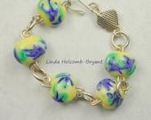 SALE Silver Bracelet of Lampwork Beads