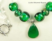 Necklace of Green And Silver with Handmade Lampwork Beads