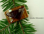 SALE Dichroic Fused Glass Barrette of Camel Brown  1 3/4 inches in width 1 inch clasp