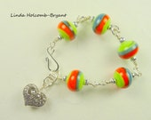 SALE Bracelet of Green, orange and Gray with Heart Charm