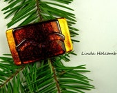 SALE Dichroic Fused Glass Barrette of Orange Bronze 1 3/4 inches in width 1 inch clasp