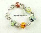 SALE Bracelet of Stripe Lampwork Beads