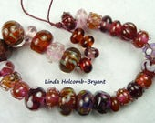 Lampwork Glass Bead Set of Mixed Rose and Pink Beads- 31
