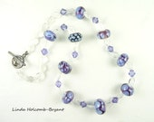 Blue and Violet Lampwork bead Necklace
