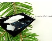 SALE Dichroic Fused Glass Barrette of Black and White 2 1/4  inches in width 1 1/4 inch clasp