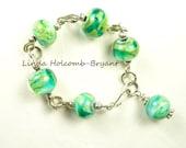 Silver Bracelet of Tropical Sea Lampwork Beads