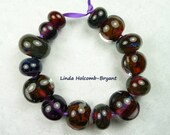 Lampwork Glass Bead Set of Mixed Purple and Brown  - Set of 14