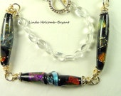 Necklace with Three Dichroic Focal Beads