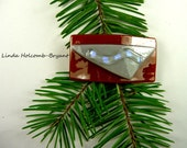 """SALE Dichroic Fused Glass Barrette of Camel Brown and Gray with Purple Dichroic 2 1/8 """" width, clasp is 1 1/4"""""""