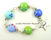Bracelet of Turquoise, Green & Blue Lampwork Beads