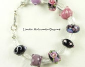 Purple & Rose Flower Lampwork Beaded Bracelet