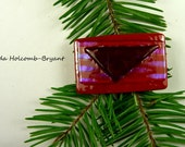 SALE Dichroic Fused Glass Barrette of Red and Purple 2 inches in width 1 inch clasp