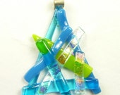 SALE Pendant of Blue & Green w/ Dichroic Fused Glass