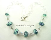 Necklace Handmade Lampwork Glass Beads of Blue Gray and Aqua