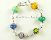 Bracelet of Colorful Lampwork Beads