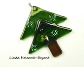 SALE Fused Glass Christmas Tree Ornament