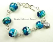 Bracelet of Blue Lampwork Glass Beads