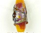 Orange Yellow Base Lampwork Glass Double Helix Focal Bead