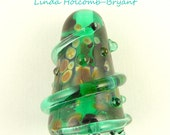 Green Lampwork Glass Focal Bead