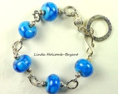 Silver Bracelet of Lampwork Glass Beads of Blue with Dots Dots Dots