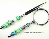 Letter Opener & Magnifying Glass with Handmade Lampwork Glass Beads of Multi Blues