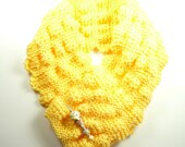 Soft YellowKnitted Scarf with Ice Cream Cone Lampwork Pin