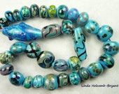 Lampwork Glass Bead Set of Mixed Turquoise Beads- set of 33