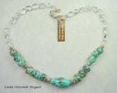 Necklace of Turquoise and Black Lampwork Beads