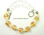 Necklace of Yellow Handmade Lampwork Glass Beads