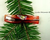 SALE Dichroic Fused Glass Barrette of Orange and Red 3 inch width, clasp is 1 1/2 inches.