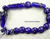 Lampwork Glass Bead Set of Royal Blue- Set of 16