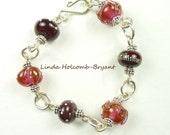 SALE Silver Bracelet of Rose Lampwork Beads