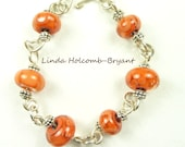 SALE Silver Bracelet of Orange Lampwork Beads