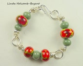 SALE Bracelet of Olive with Red Flowers