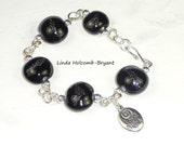Bracelet of Classy Black Lampwork Beads