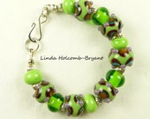 Green and Purple Lampwork Beaded Bracelet
