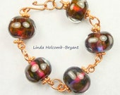 Copper Bracelet of Lampwork Beads