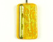 Save for PAT Yellow and Gold Fused Glass Pendant
