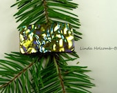 SALE Fused Glass Barrette of Gold with Green and Red accent 1 3/4 inches in width 1 inch clasp