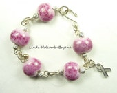 Silver Awareness Bracelet of Pink Lampwork Glass Beads