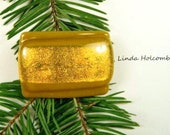 SALE Fused Glass Barrette of Gold and a Hint of Orange 2 inches in width 1 inch clasp
