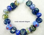 Lampwork Glass Bead Set of Mixed Blues  - Set of 18