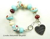 SALE Bracelet of Lampwork Glass Beads