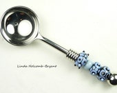 Condiment Spoon with Handmade Lampwork Glass Beads of Blue and Black