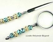 Letter Opener & Magnifying Glass with Handmade Lampwork Glass Beads of Ivory turquoise and brown