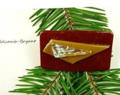 SALE Dichroic Fused Glass Barrette of Dark Red with Camel Brown 2 inches in width 1 inch clasp